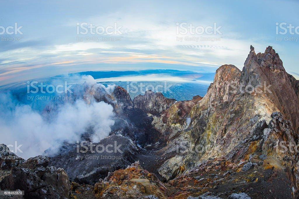 Mount Merapi crater - fisheye view stock photo