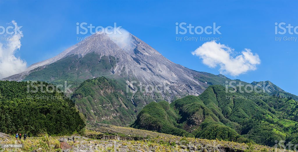 Mount Merapi on a clear sunny day, Java, Indonesia stock photo