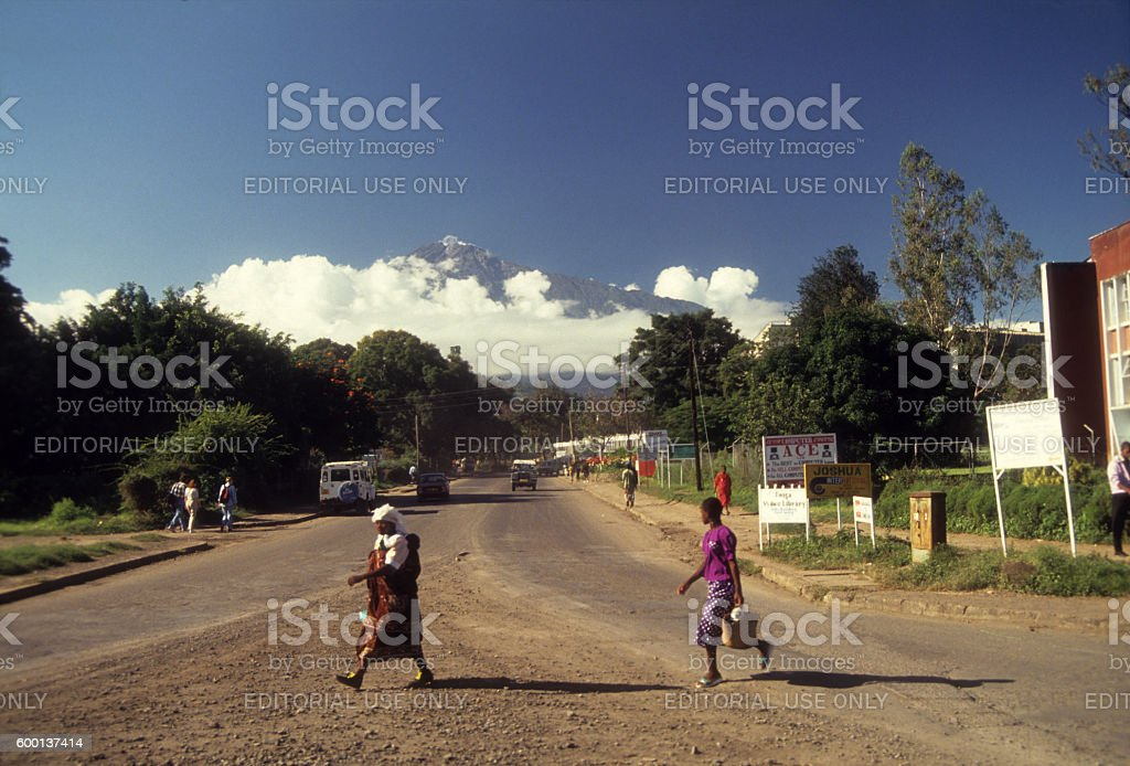 Mount Meru at distance viewed from Arusha town, Tanzania stock photo