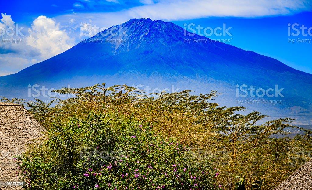 Mount Meru in Tanzania stock photo