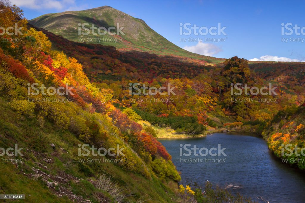 Mount Midoridake and Pond stock photo