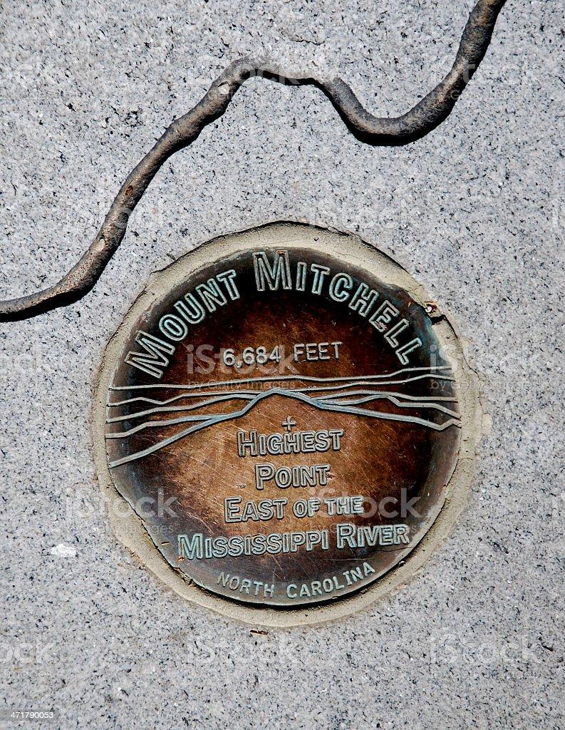 Mount Mitchell Marker royalty-free stock photo