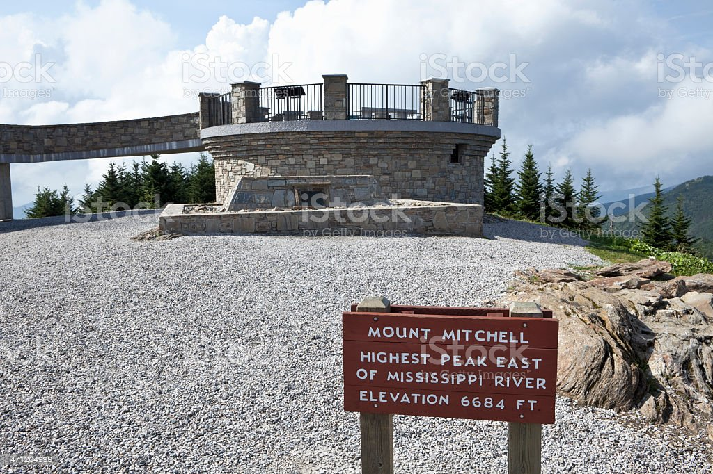 Mount Mitchell Summit the Higest Peak in Eastern USA stock photo