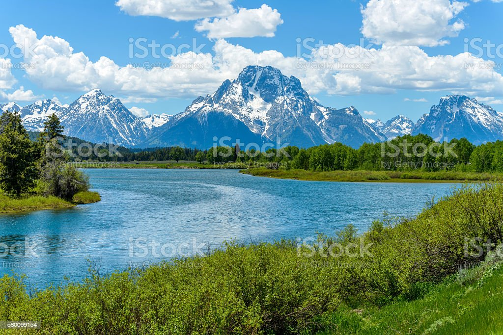 Mount Moran at Oxbow Bend of Snake River stock photo