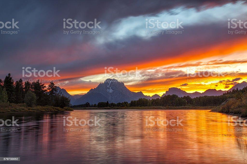 Mount Moran - Grand Teton National Park stock photo