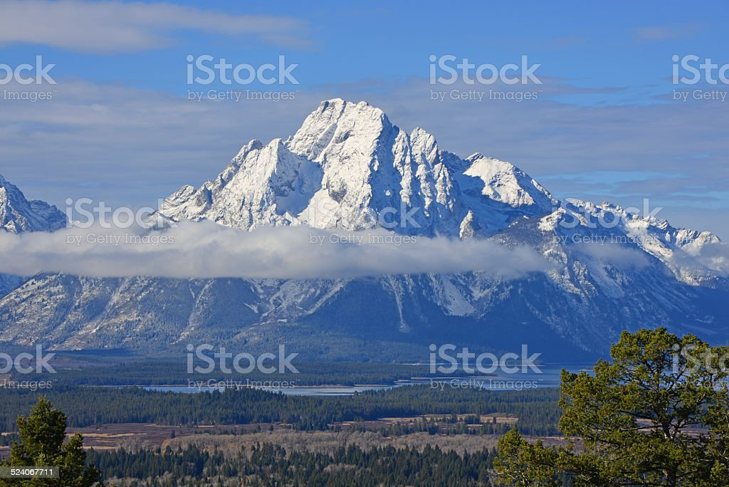 Mount Moran in Grand Teton National Park stock photo