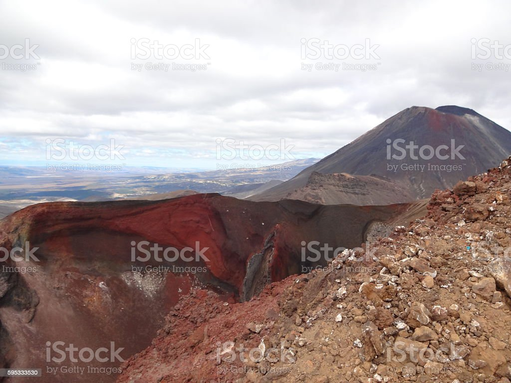 Mount Ngauruhoe Vulkan Neuseeland Tongariro Nationalpark stock photo