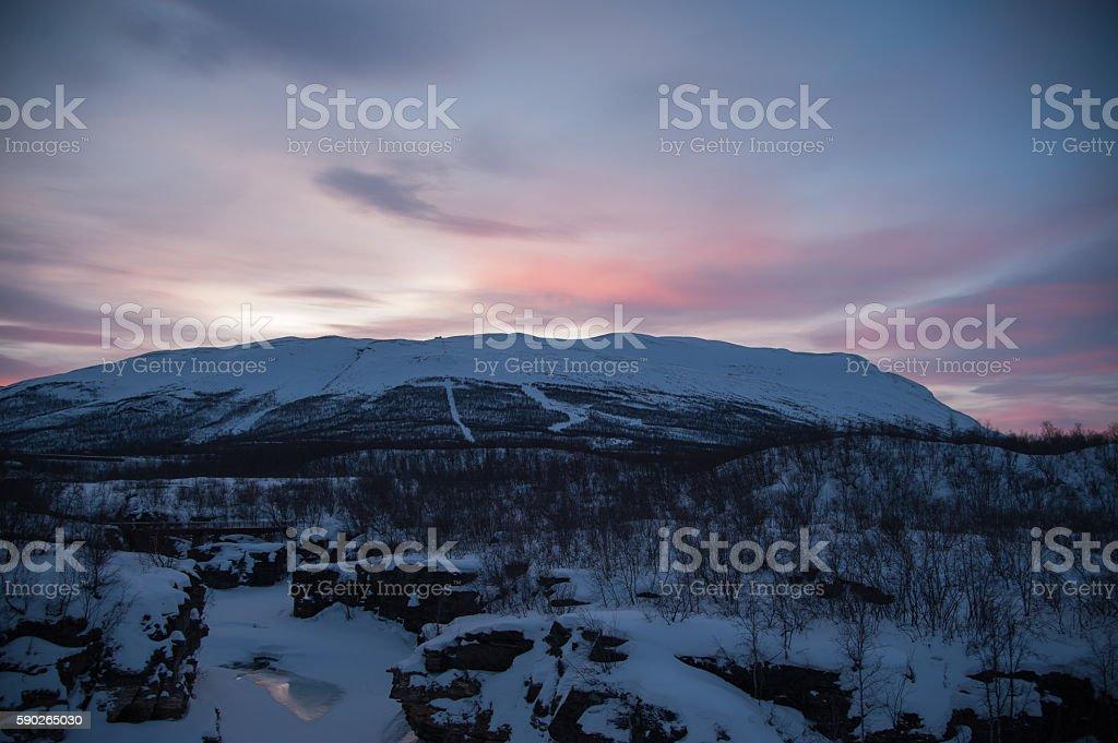 Mount Nuolja at sunset stock photo