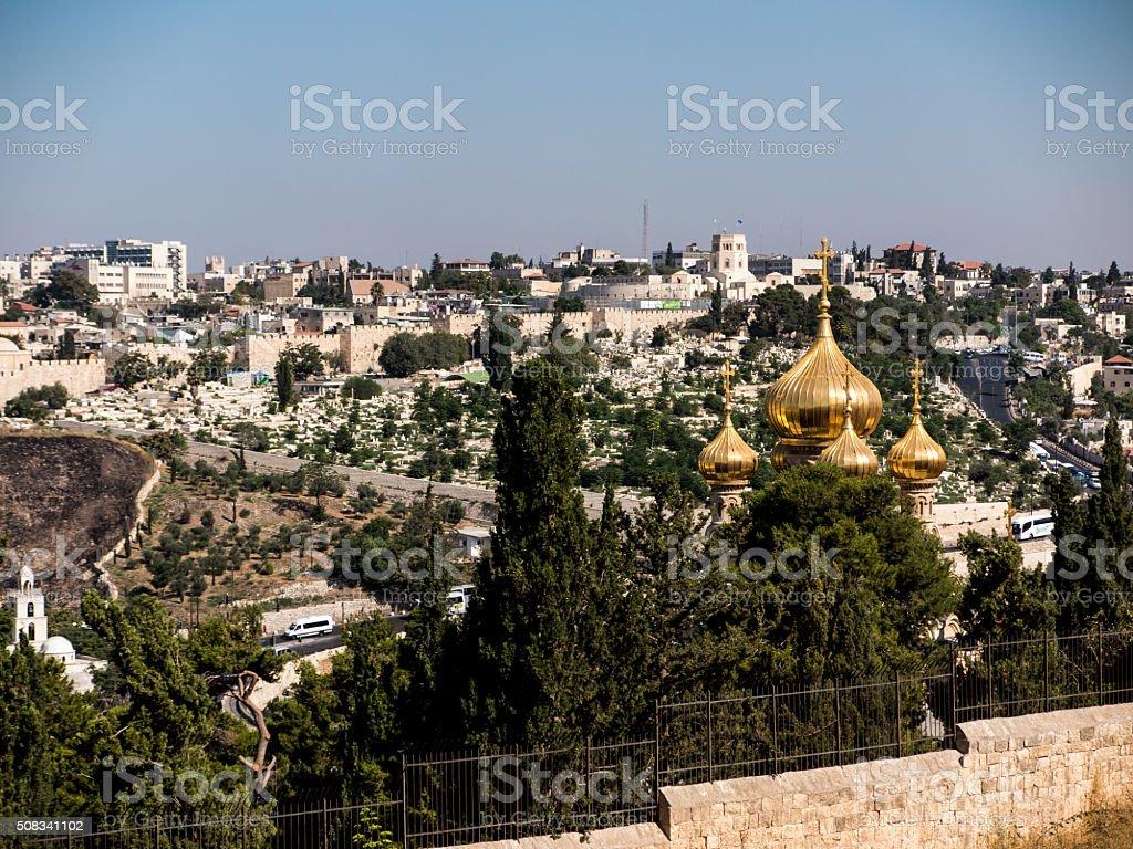 Mount of Olives in Jerusalem. Church St. Mary Magdalene stock photo