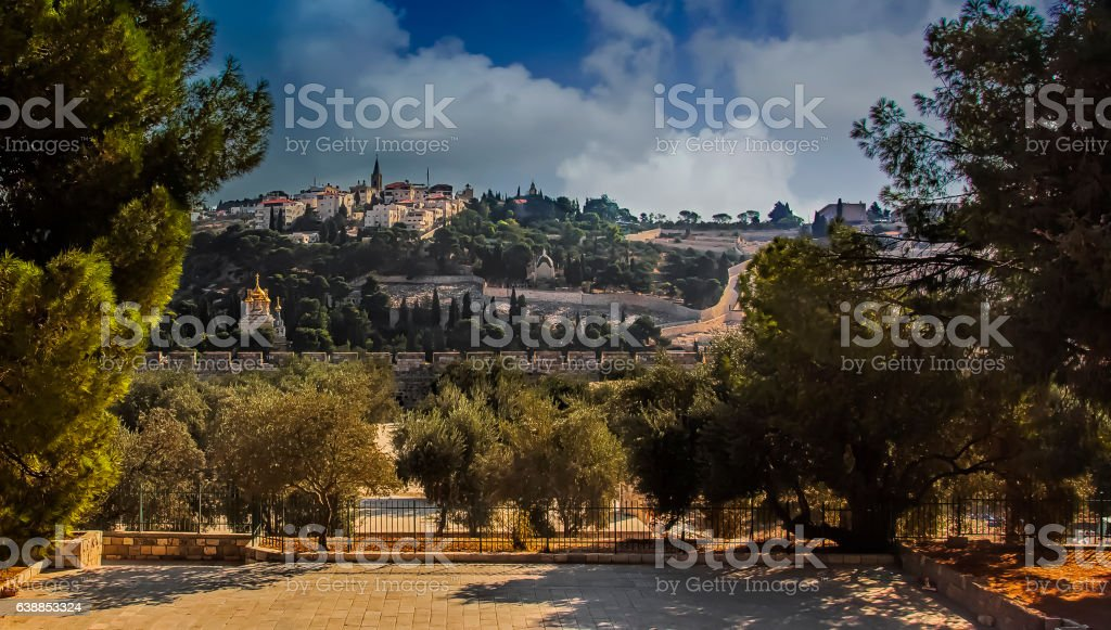 Mount of Olives view stock photo