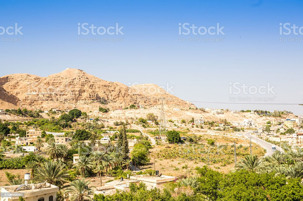 Mount of Temptation next to Jericho stock photo