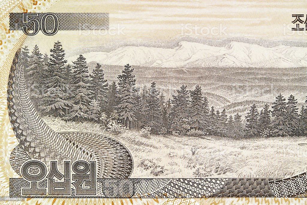 Mount Paekdu on Banknote royalty-free stock photo