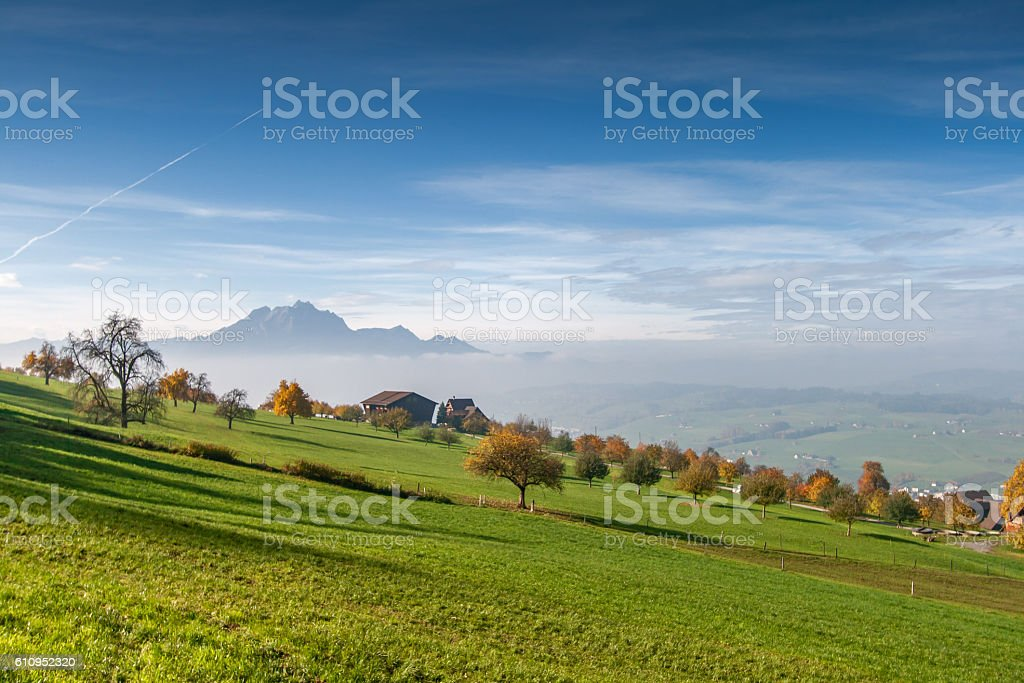 Mount Pilatus and Lake Lucerne, Alps stock photo