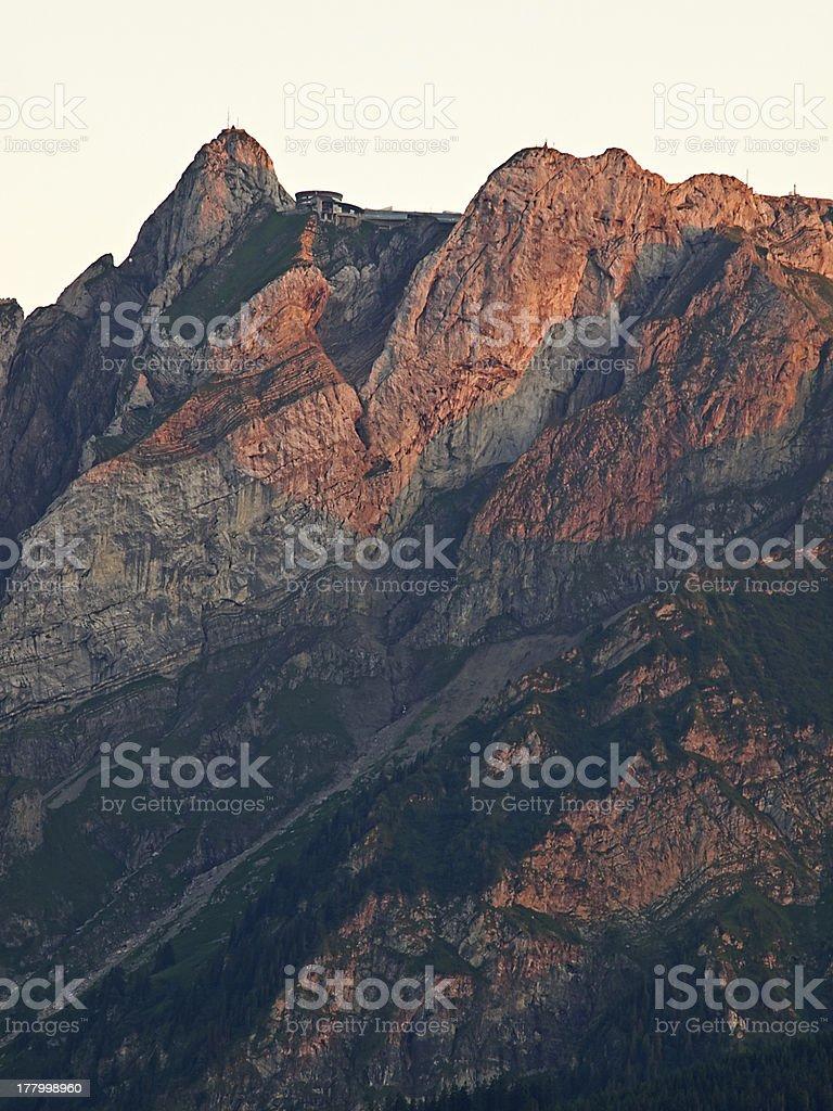 Mount Pilatus in red royalty-free stock photo