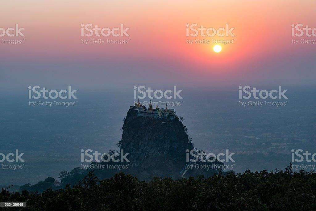 Mount Popa Monastery at Sunset stock photo