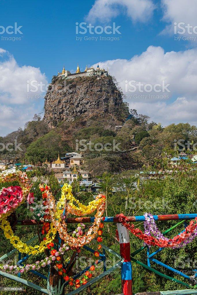 Mount Popa, Taung Kalat, Bagan, Myanmar and Flower Garlands stock photo