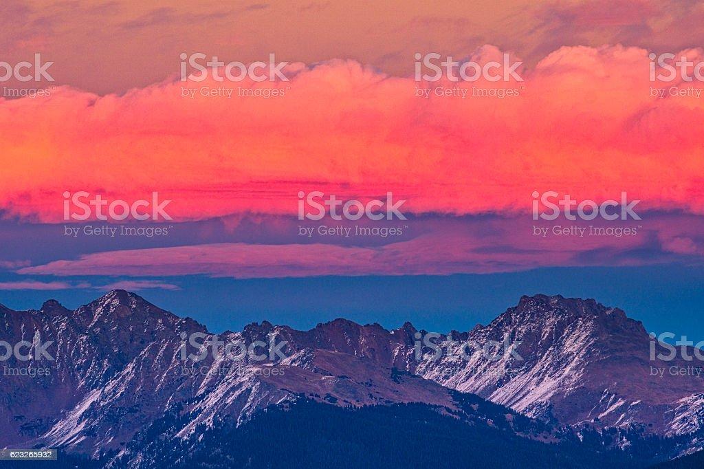 Mount Powell and Peak C Gore Range Sunset Mountains stock photo