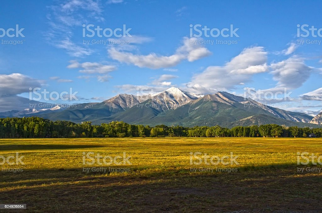 Mount Princeton with a Dusting of Early Snow stock photo