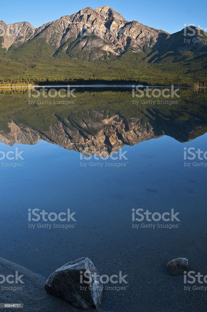 Mount Pyramid and lake. stock photo