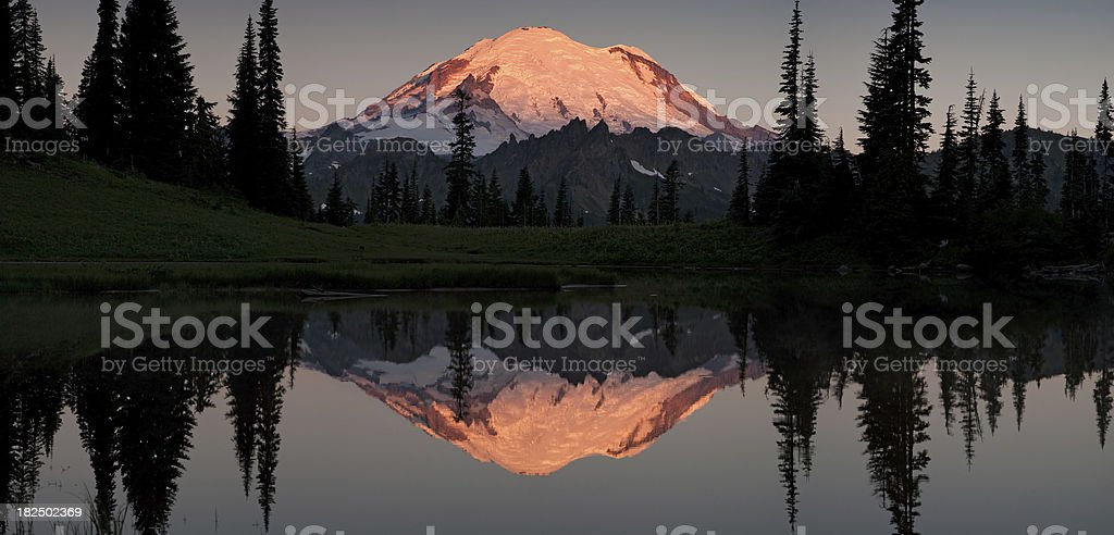 Mount Rainier Alpenglow Reflection Panorama royalty-free stock photo