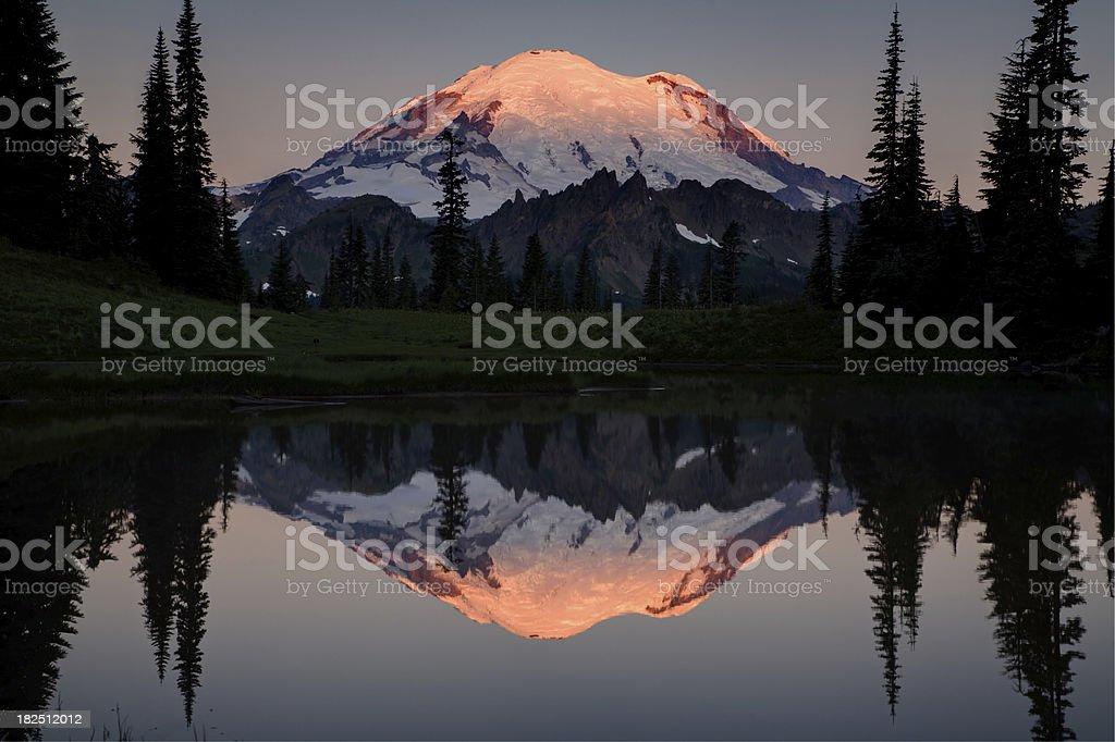 Mount Rainier Alpenglow Reflection stock photo