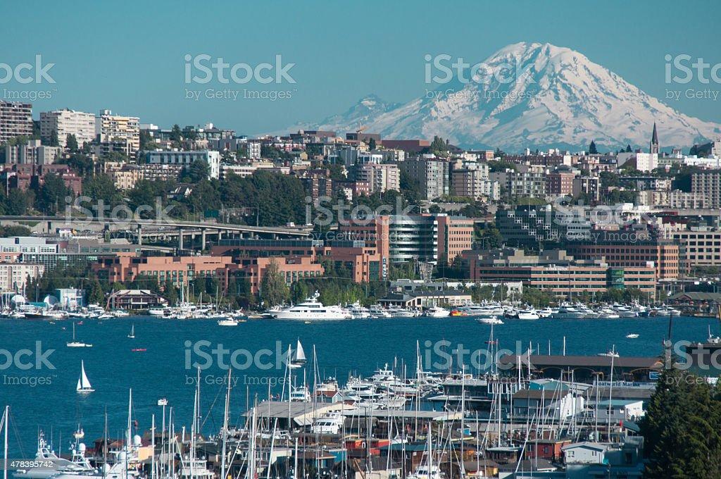 Mount Rainier and Lake Union stock photo