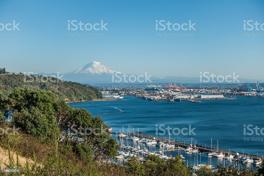 Mount Rainier And Port 4 stock photo