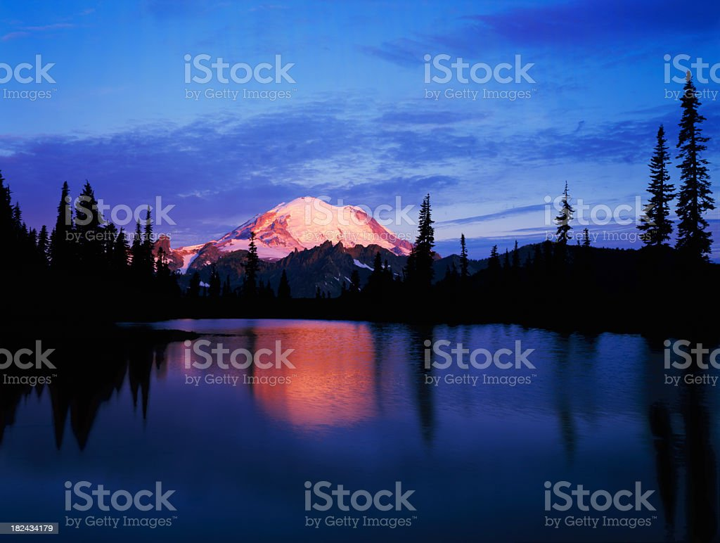 Mount Rainier at Dawn from Tipsoo Lake royalty-free stock photo