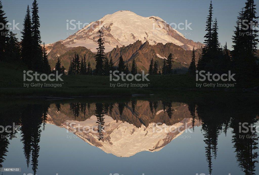 Mount Rainier Chinook Pass Reflection stock photo