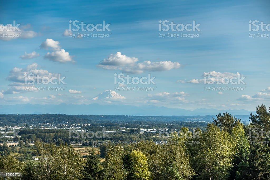 Mount Rainier From Kent stock photo