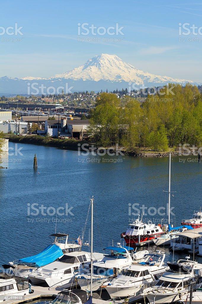 Mount Rainier from Tacoma Marina Daytime stock photo