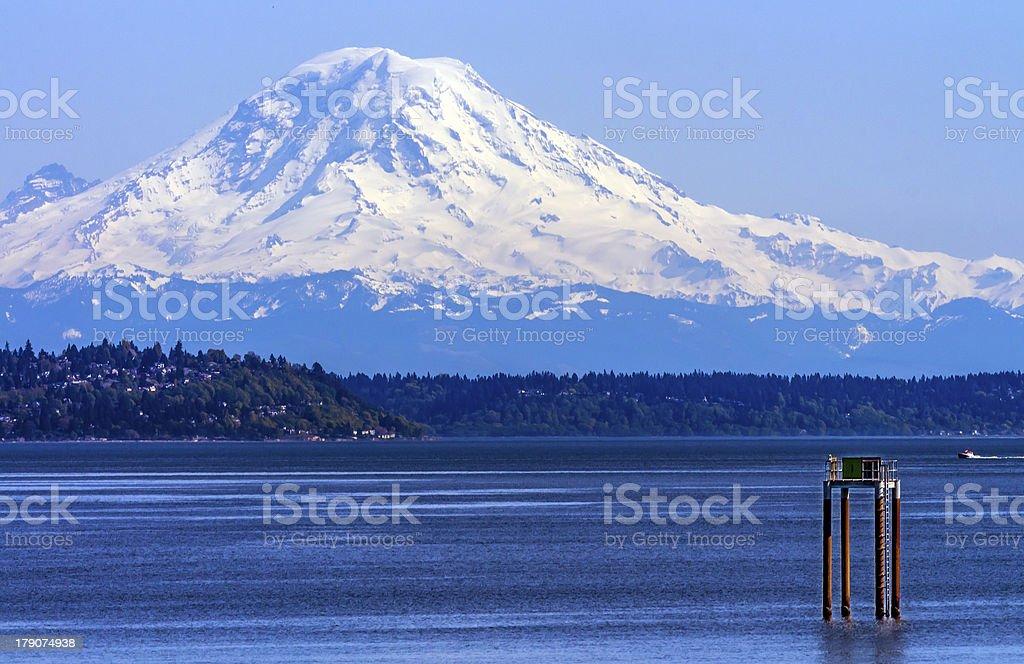 Mount Rainier Puget Sound North Seattle Snow Mountain Washington royalty-free stock photo
