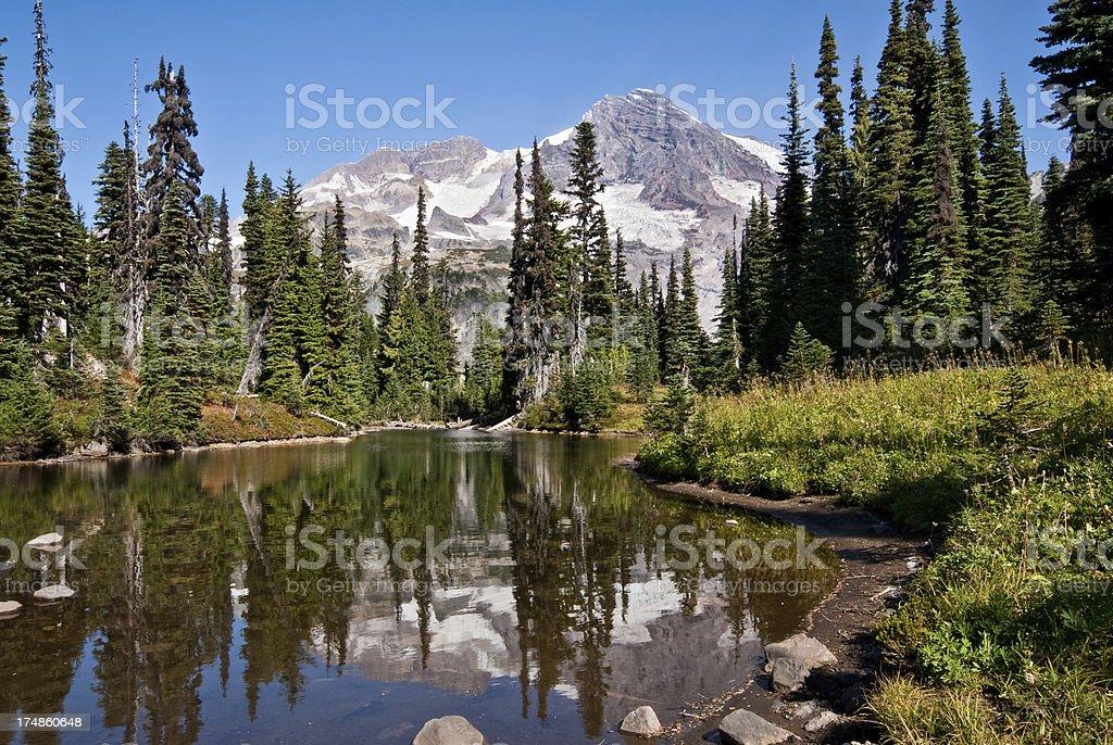 Mount Rainier Reflected in Mirror Lake stock photo