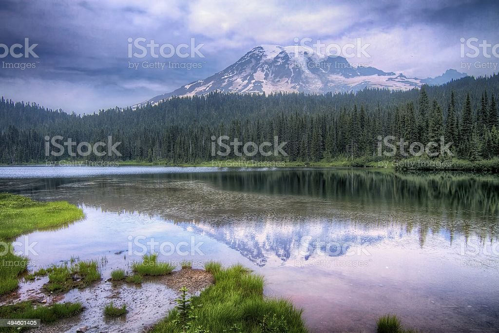 Mount Rainier Reflection Lake Landscape stock photo