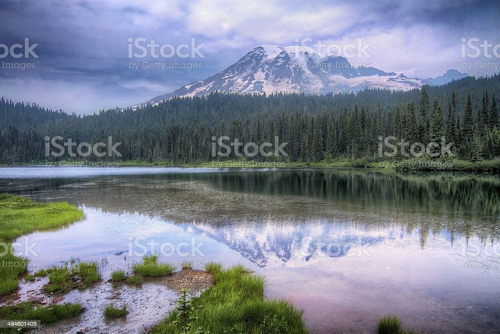 Mount Rainier Reflection Lake Landscape stock photo