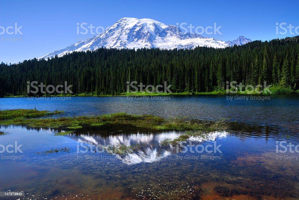 Mount Rainier seen from reflection lake royalty-free stock photo