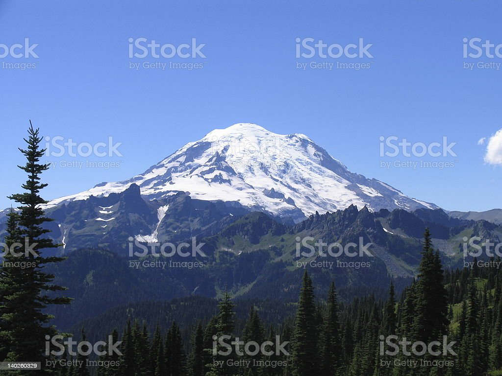 Mount Rainier volcano in Washington, USA stock photo