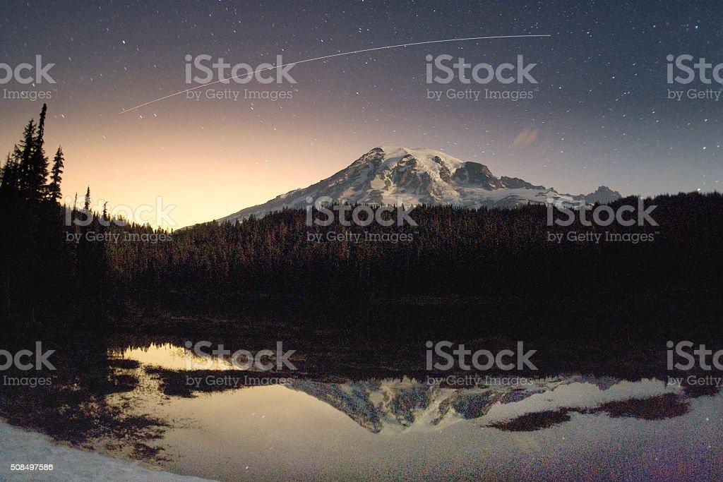 Mount Rainier, WA and the International Space Station stock photo
