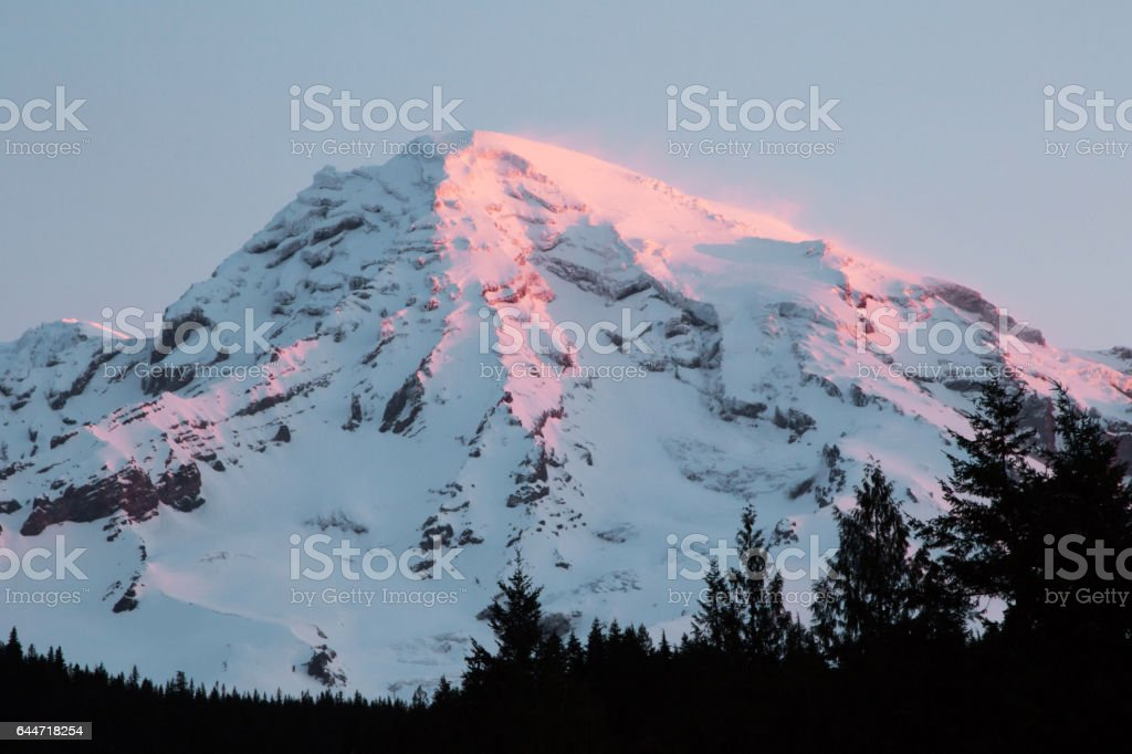 Mount Rainier, with early morning alpenglow stock photo