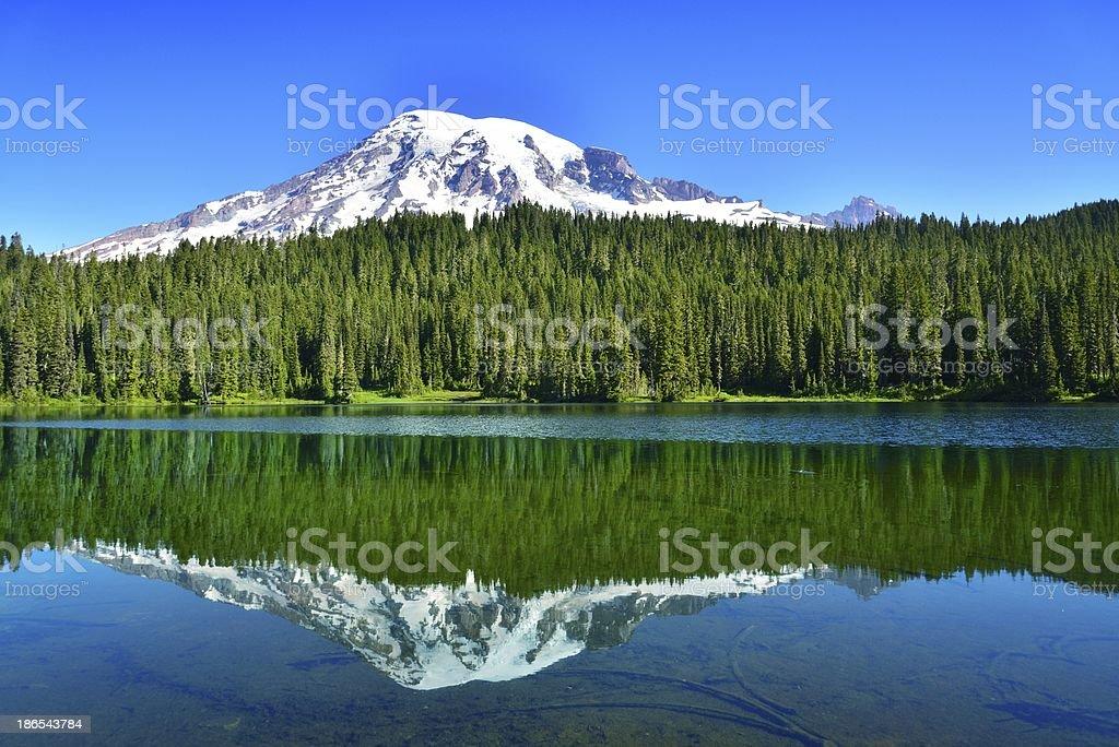 Mount Rainier with reflection lake stock photo