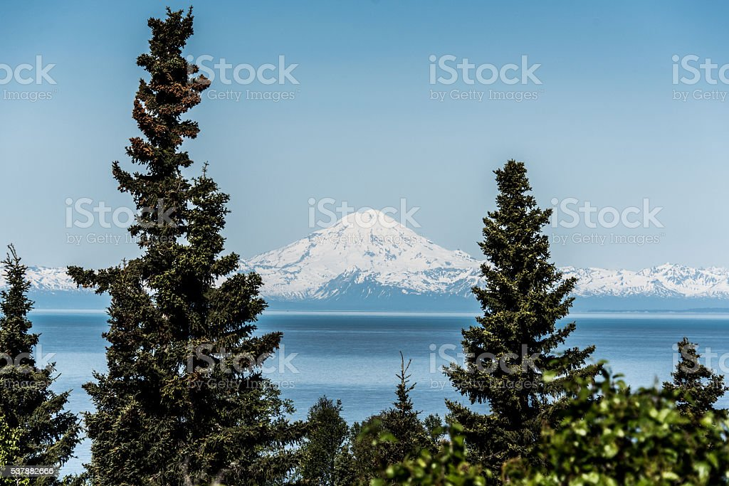 Mount Redoubt across the Cook Inlet stock photo