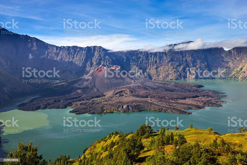 Mount Rinjani with the crater lake Segara Anak, Lombok, Indonesia stock photo