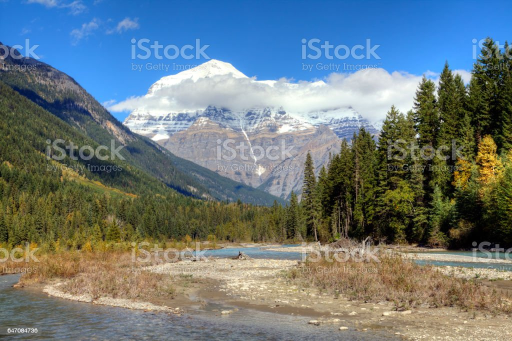 Mount Robson and the Robson River in autumn. stock photo