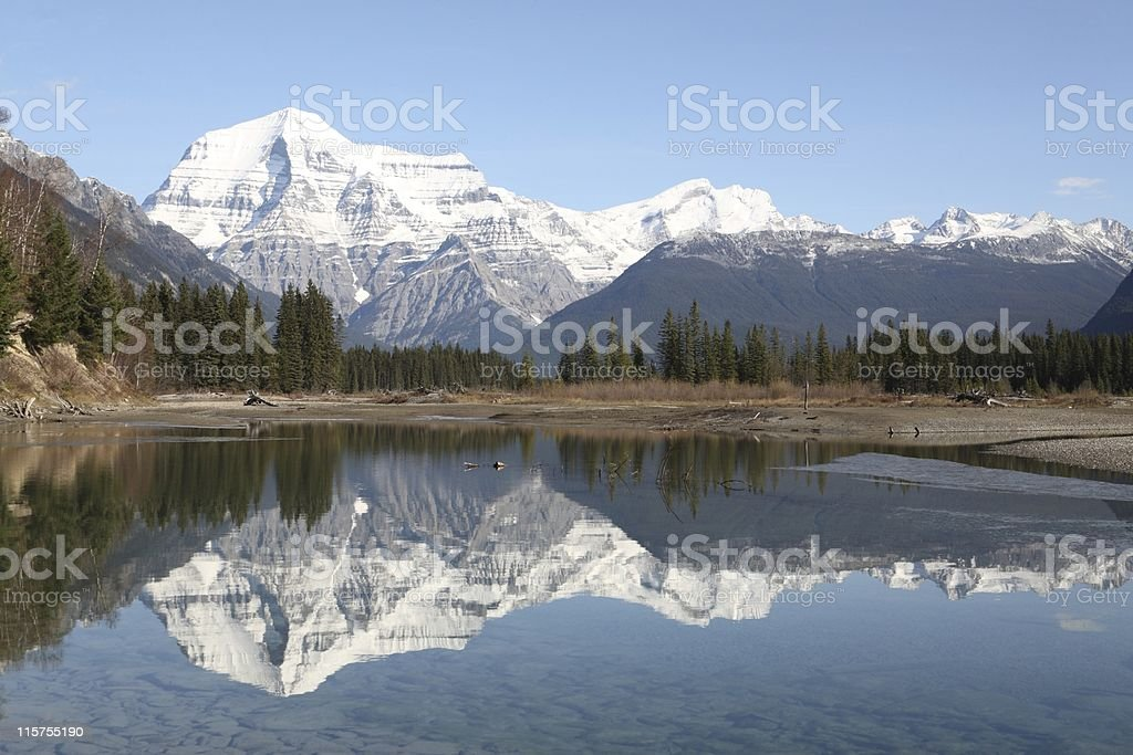 Mount Robson autumn reflection. stock photo