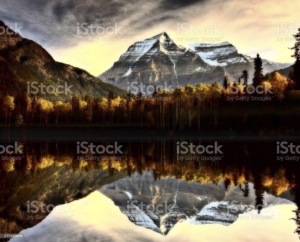 Mount Robson in autumn stock photo