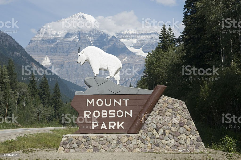 Mount Robson Park west entrance stock photo