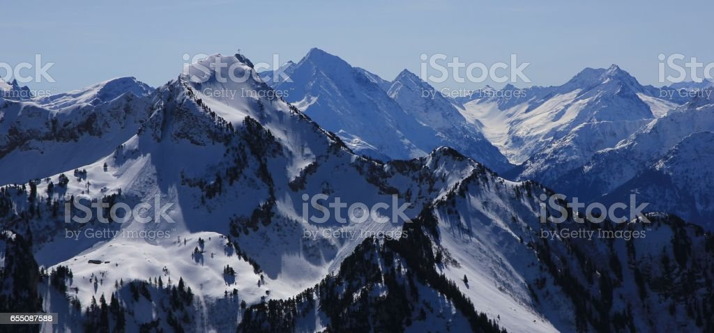 Mount Rophaien and other mountains stock photo