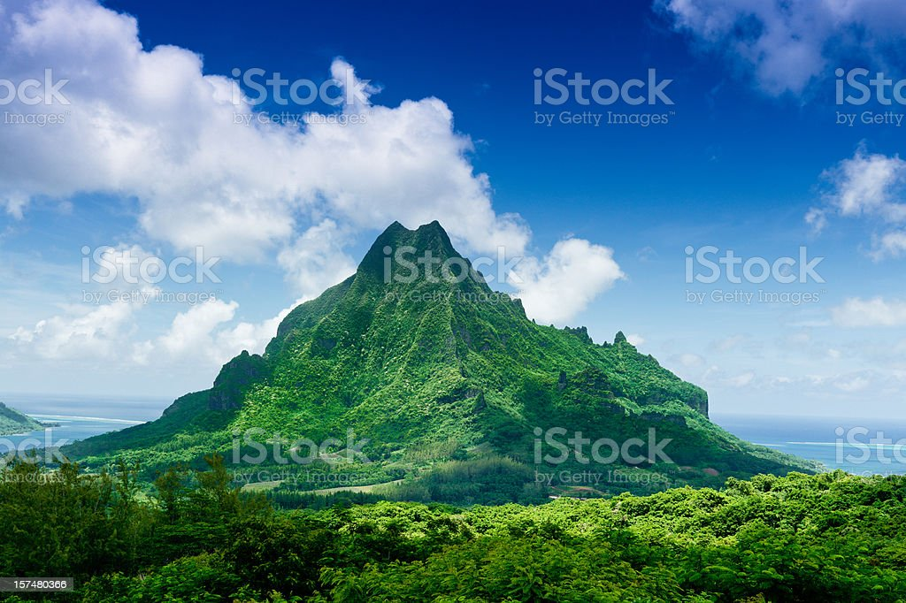 Mount Roto Nui Volcanic Mountain Moorea Island stock photo