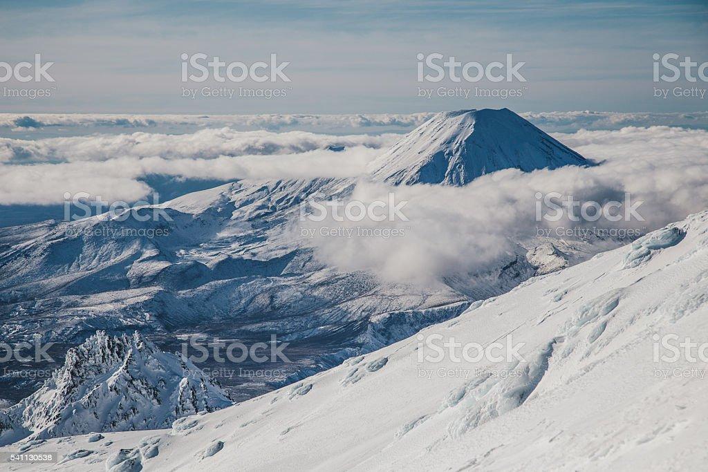 Mount Ruapehu at Tongariro National Park in New Zealand stock photo