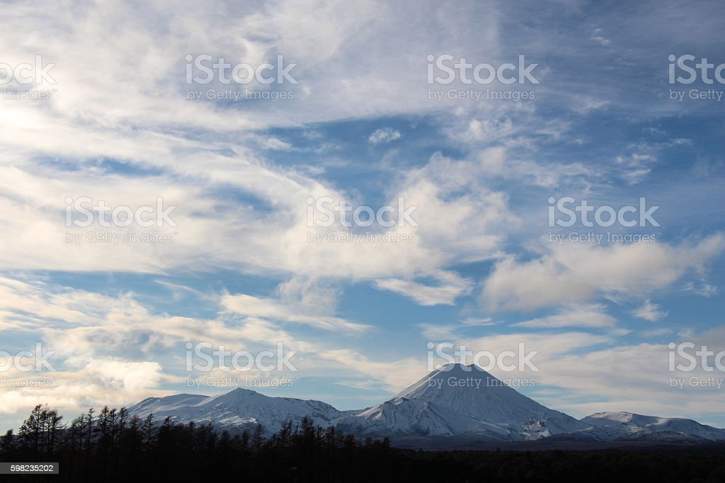 Mount Ruapehu in New Zealand stock photo